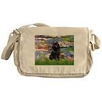 Lilies (2) & Schipperke Messenger Bag