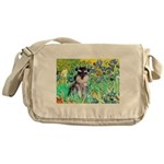 Irises / Miniature Schnauzer Messenger Bag