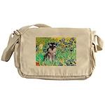 Irises / Miniature Schnauzer Messenger Bag