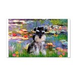 Lilies (#2)/Schnauzer Pup 20x12 Wall Decal