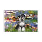 Lilies / Schnauzer 20x12 Wall Decal