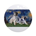 Starry Night / Min Schnauzer Ornament (Round)
