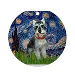 Starry Night /Schnauzer(#8) Ornament (Round)