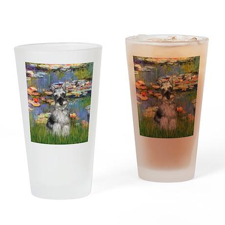 Lilies / Miniature Schnauzer Drinking Glass