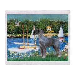 PS G. Schnauzer & Sailboats Throw Blanket