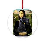 Mona Lisa /giant black Schnau Ornament (Round)