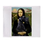 Mona Lisa /giant black Schnau Throw Blanket