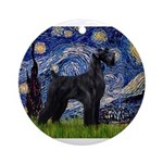 Starry Night / Schnauzer Ornament (Round)