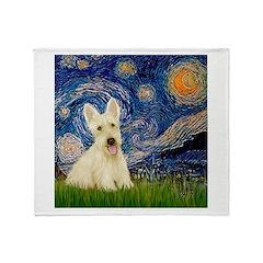 Starry Night / Scottie (w) Throw Blanket