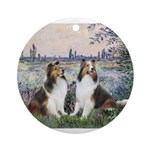 Seine / 2 Shelties (dl) Ornament (Round)