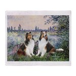 Seine / 2 Shelties (dl) Throw Blanket