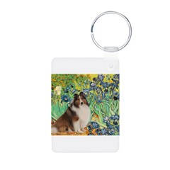 Irises / Sheltie Aluminum Photo Keychain