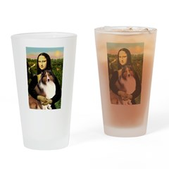 Mona Lisa / Sheltie (s&w) Drinking Glass