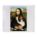 Mona Lisa / Sheltie (s&w) Throw Blanket