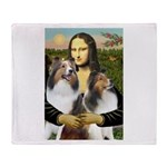 Mona Lisa / 2 Shelties (DL) Throw Blanket