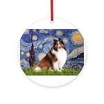 Starry Night / Sheltie (s&w) Ornament (Round)
