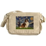 Starry Night / Sheltie (s&w) Messenger Bag