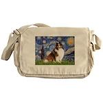 Starry Night / Sheltie (s&w) Messenger Bag