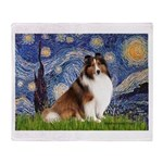 Starry Night / Sheltie (s&w) Throw Blanket