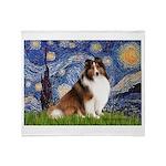 Starry Night / Sheltie (s&w) Throw Blanket