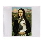 Mona Lisa & Siberian Husky Throw Blanket