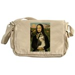 Mona Lisa & Siberian Husky Messenger Bag