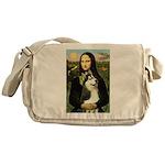 Mona Lisa & Siberian Husky Messenger Bag