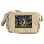 Starry Night & Husky Messenger Bag