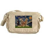 Starry Night Red Husky Pair Messenger Bag