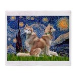 Starry Night Red Husky Pair Throw Blanket