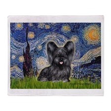 Starry / Black Skye Terrier Throw Blanket