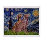 Starry / 2 Weimaraners Throw Blanket