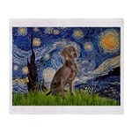 Starry / Weimaraner Throw Blanket
