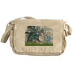 Lilies (#1) - Corgi (Bl.M) Messenger Bag