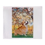 Spring / Corgi Throw Blanket
