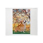 Spring / Corgi Throw Blanket