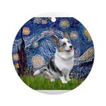 Starry Welsh Corgi (Bl.M) Ornament (Round)