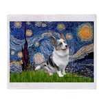 Starry Welsh Corgi (Bl.M) Throw Blanket