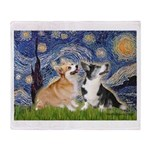 Starry Night / Corgi pair Throw Blanket