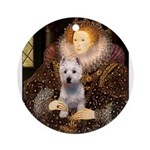 Queen Liz & Her Westie Ornament (Round)