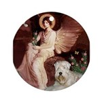 Seated Angel & Wheaten Ornament (Round)