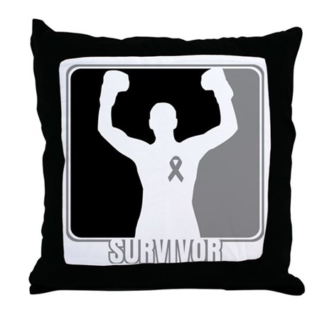 Brain Cancer Survivor Man Throw Pillow