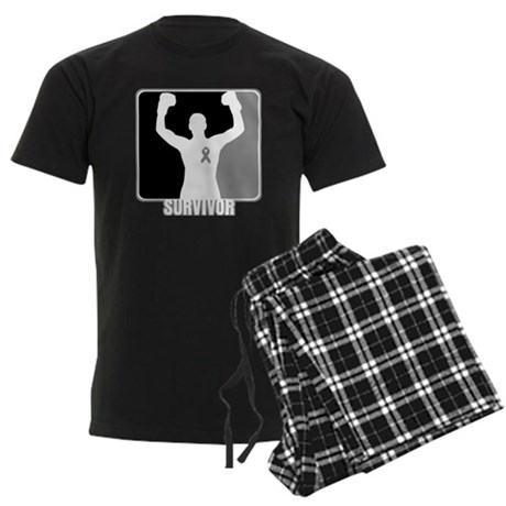Brain Cancer Survivor Man Men's Dark Pajamas