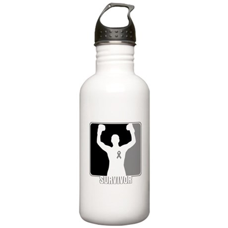 Brain Cancer Survivor Man Stainless Water Bottle 1