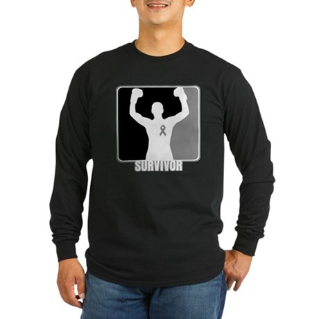 Brain Cancer Survivor Man Long Sleeve Dark T-Shirt