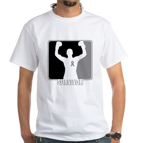 Brain Cancer Survivor Man White T-Shirt