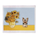Sunflowers / Yorkie #17 Throw Blanket