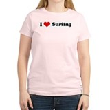 I Love Surfing Women's Pink T-Shirt