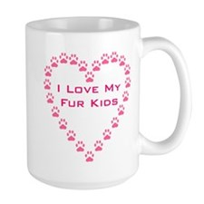 I Love My Fur Kids W/Paw Hear Mug