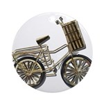 Golden Bicycle with Basket Ornament (Round)